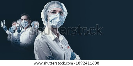 team of medical heroes professionals on a dark background