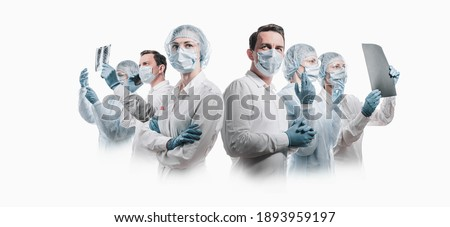 team of medical heroes professionals on white background