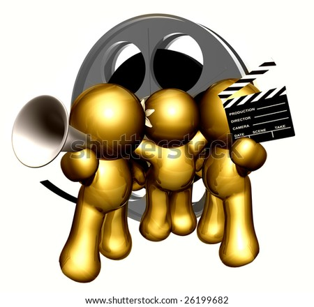Team of movie maker icon figure with clap board and film reel objects