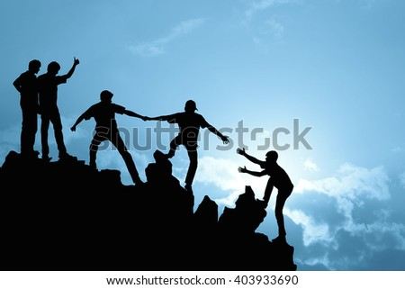 Team of people work on peak mountain  climbing helping teamwork , success winner concept