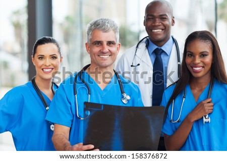 team of professional medical workers in hospital