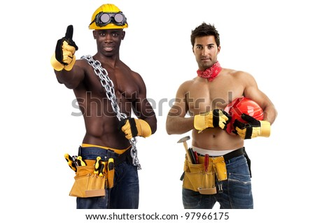 Team of strong build construction workers isolated in white