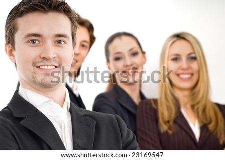 team of successful smiling young bussiness people