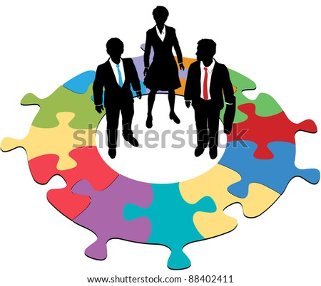Team of three business people solve a circular jigsaw puzzle problem