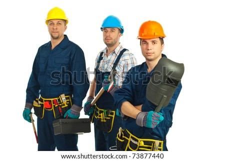 Team of three serious workers men isolated on white background