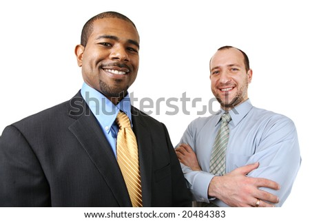 Team of two diverse business people isolated over white