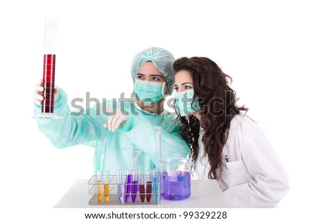 Team of young scientists at laboratory