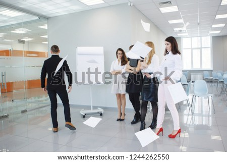 Team office staff. Management staff at the meeting. Summing up the activities. The chief scolds subordinates. Teamwork. Gender equality. The joy of a good deal. Attentive look, focus on the result. #1244262550