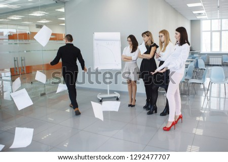 Team office staff. Management staff at the meeting. Summing up the activities. The chief scolds subordinates. Teamwork. Gender equality. The joy of a good deal. Attentive look, focus on the result. #1292477707