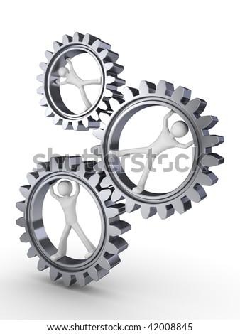 Team power (three men posing inside gears)