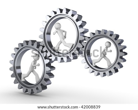 Team power (three men walking inside gears)