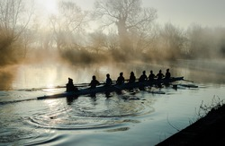 Team rowing on a mirror