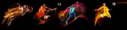 Team sports. Collage of images of professional soccer and american football players in motion and action isolated on dark background in neon mixed light. Concept of sport, action, motion, team, ad