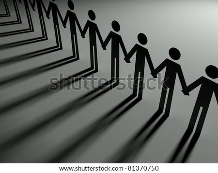 Team together, 3d paper