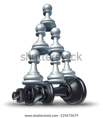 Team victory as a business strategy chess symbol of changing the balance of power by teaming up in partnership and collaborating together to defeat powerful competitor.