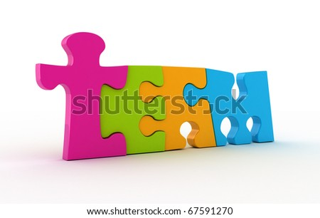 Team word from colored piece of puzzle isolated on white.
