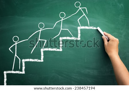 Shutterstock Team work for success, handwriting with chalk on blackboard