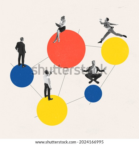 Team work. Young women, businesswomen, men, finance analyst or clerk in business clothes isolated on abstract art background. Concept of finance, economy, professional occupation, ad.