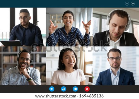 Photo of  Team working by group video call share ideas brainstorming negotiating use video conference, pc screen view six multi ethnic young people, application advertisement easy and comfortable usage concept