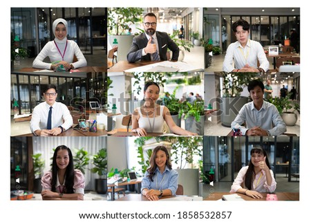 Team working by group video call share ideas brainstorming negotiating use video conference, pc screen view nine multi ethnic young people, application advertisement easy and comfortable usage concept
