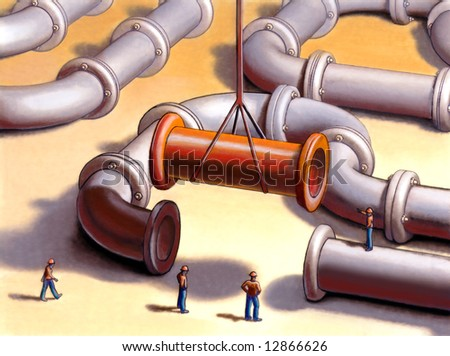 Team working on a pipes system. Mixed media illustration.