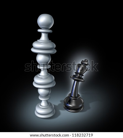Teaming up as an organized  business team for a powerful opponent with chess pawns stacked on top of each other forming a strong partnership that towers over the fearful king as a winning strategy.