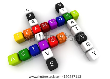 Teamwork Action colorful box Crossword 3D render