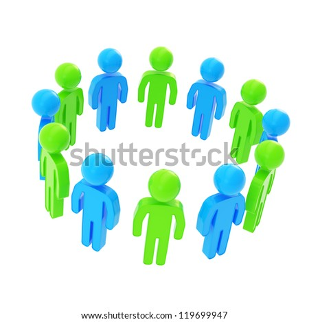 Teamwork and common purpose concept: copyspace round frame made of group of symbolic green and blue people figures isolated on white background