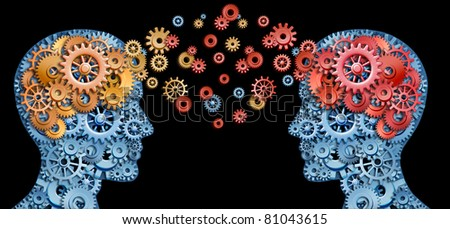 Teamwork and Leadership with education symbol represented by two human heads shaped with gears with red and gold brain idea made of  cogs representing working together as a team in partnership.