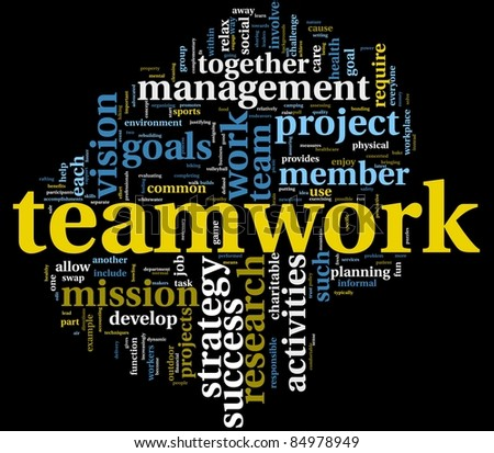 Teamwork and strategy concept in word tag cloud isolated on black