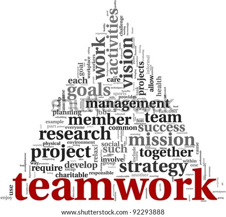 Teamwork and strategy concept in word tag cloud on white background