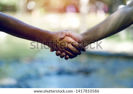 Teamwork and Unity Teamwork, handshaking in the team Team concept #1417810586