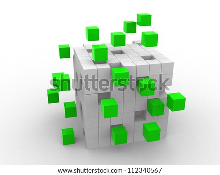 teamwork business concept with green cubes - 3d render - stock photo