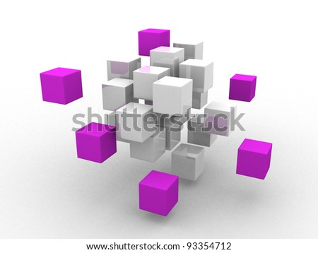 teamwork business concept with magenta cubes