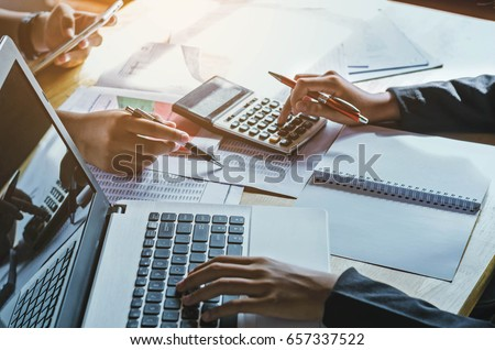 teamwork  business woman accounting concept financial in office