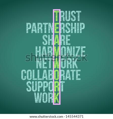 Teamwork Concept Crossword Illustration Design Graphic Background