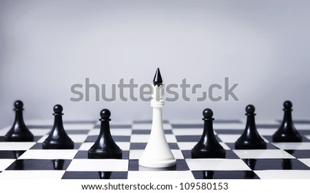 Teamwork concept in chess, providing leadership and association