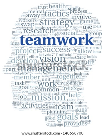 Teamwork concept in word tag cloud of head shape