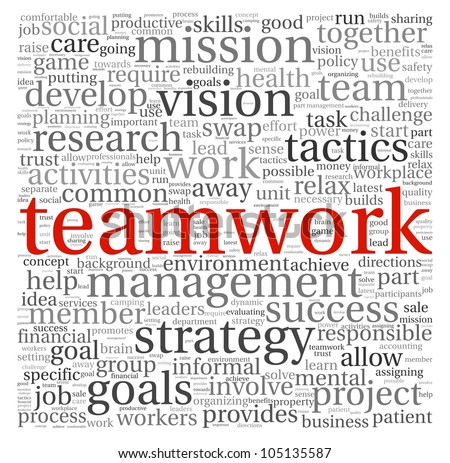 Teamwork concept in word tag cloud on white background