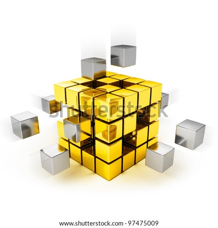 Teamwork concept - metal cubes assembling into gold one - stock photo