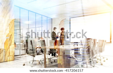 Teamwork concept. Two businessmen discussing contract together in conference room interior with blank whiteboard on city background with sunlight. Double exposure