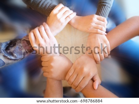 Teamwork concept, unity in work. Choose focus groups of hands, variety of styles together. The processing of young people to express the power of harmony.