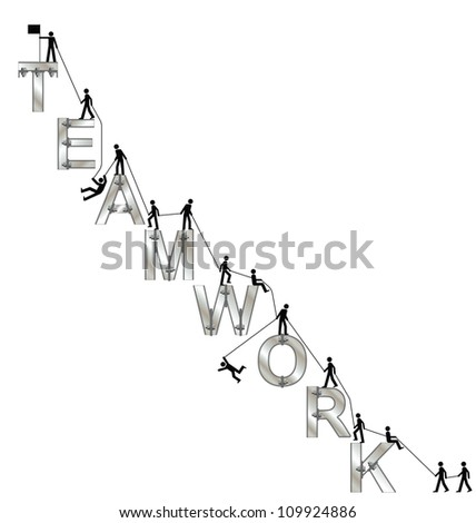 Teamwork concept with mountaineering theme isolated on white background