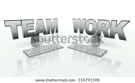 Teamwork concept with networked computers online