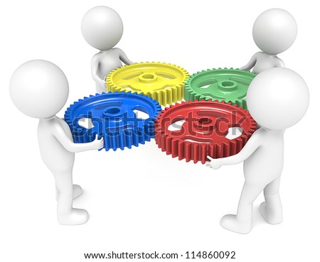 Teamwork. 3D little human character X4 holding Cog Wheels. 4 Color. People series.