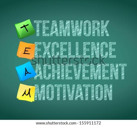 teamwork educational concept illustration design over a chalkboard