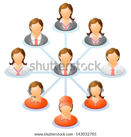 Teamwork flow chart. Network of people. Spider Diagram. Raster version, vector file also included in the portfolio.