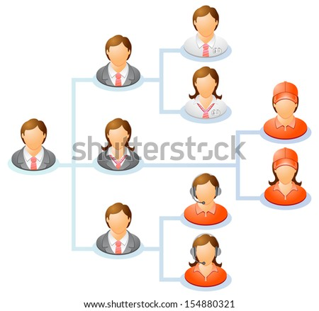 Teamwork flow chart. Network of people. The hierarchical diagram. The hierarchical organization management system. Raster version, vector file also included in the portfolio.