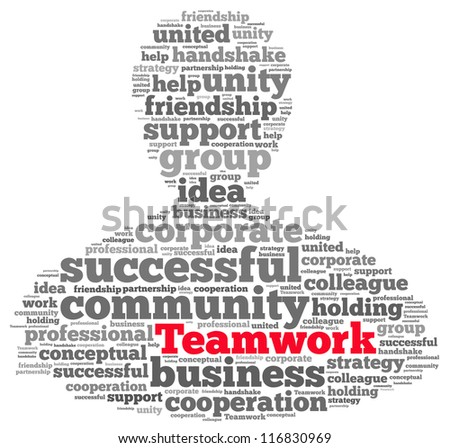Teamwork info-text graphics and arrangement concept on white background (word cloud)