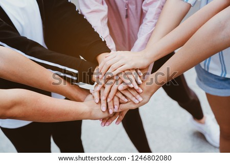 Teamwork is a combination of hands. Is a large group of people who have the work efficiency. Show unity as a collaborative work together. To succeed, one has to understand each other in communication. #1246802080